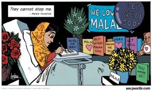 """Trecho de """"I Have The Right"""", adaptação em quadrinhos do discurso de Malala Yousafzai."""