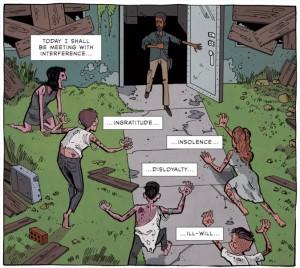 Trecho de A Meditation, texto de Marco Aurélio adaptado para quadrinhos.